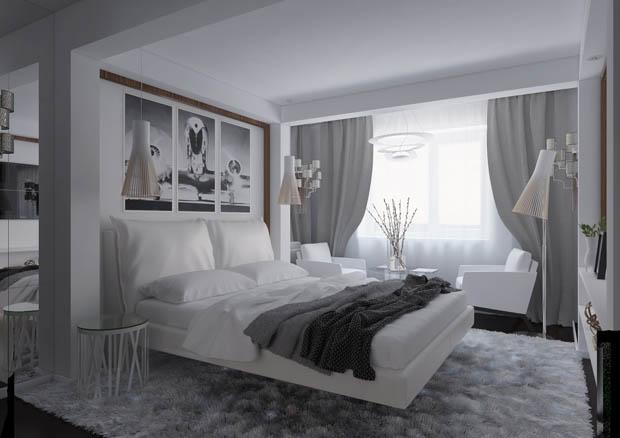แต่งห้องนอนด้วยสีขาว