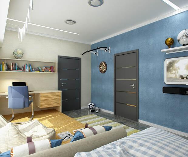 ผนังห้องนอนสีฟ้า