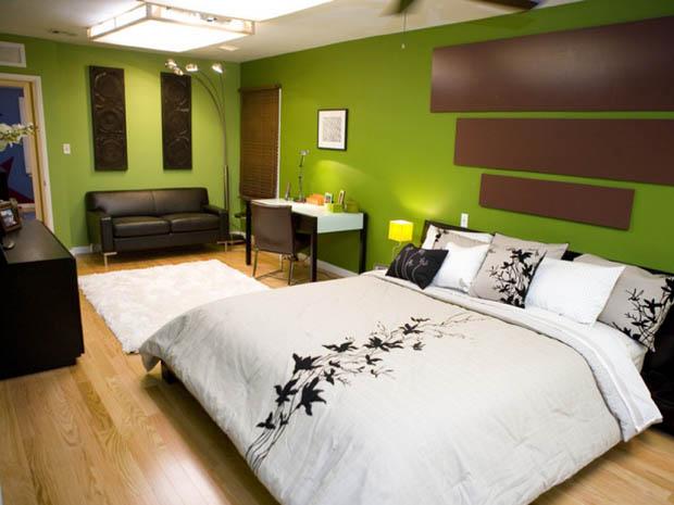 การตกแต่งห้องนอนสีเขียว