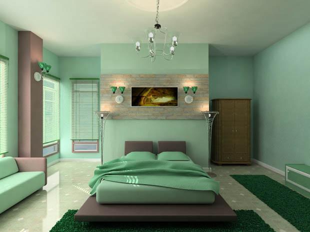 ห้องนอนสีเขียวสวยๆ