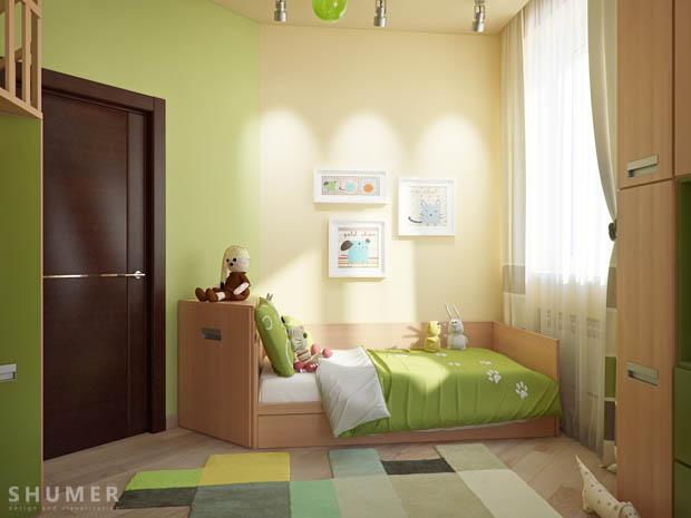 แบบห้องนอนสีสดใส