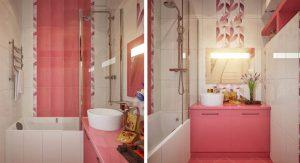 กระเบื้องห้องน้ำสีชมพู