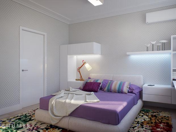 ตกแต่งห้องนอนสีม่วง