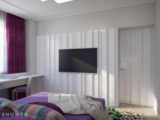การติดทีวี LED ผนังห้องนอน