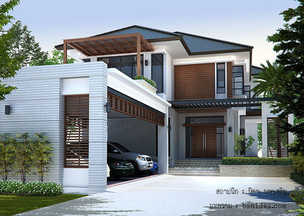 แบบบ้านสองชั้น Modern Tropical
