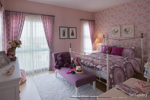ห้องนอนสีม่วง อมชมพู
