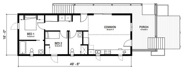 ผังบ้านชั้นเดียว 2 ห้องนอน 171 บ้านไอเดีย เว็บไซต์เพื่อบ้านคุณ
