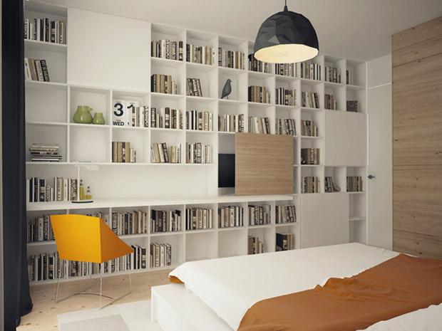 ชั้นเก็บหนังสือขนาดใหญ่ ในห้องนอน