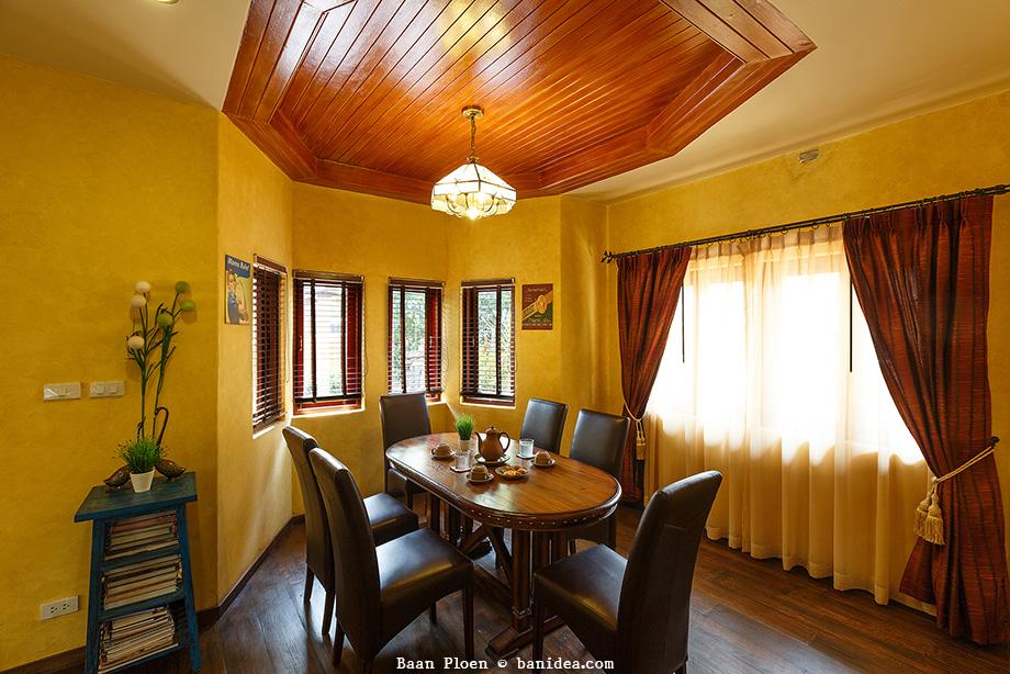 ห้องรับประทานอาหาร เพดาน 9 เหลี่ยม