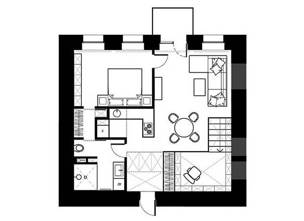 แปลนคอนโดมิเนียม 1 ห้องนอน