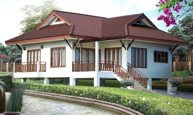 แบบบ้านไทยประยุกต์ ใต้ถุนสูง หลังคาจั่ว