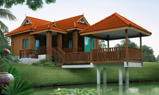 แบบบ้านไทยประยุกต์ ริมน้ำ