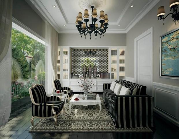 ห้องนั่งเล่นสีขาวดำ