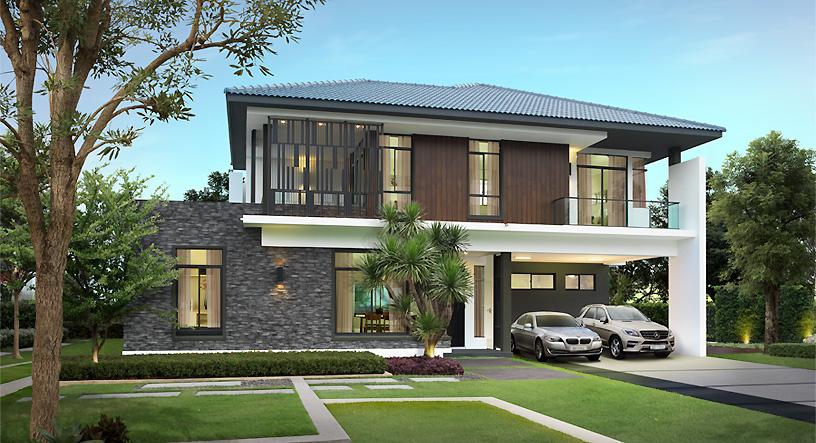 แบบบ้านสองชั้น Land and house