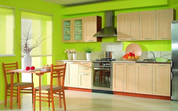ผนังห้องครัวสีเขียว