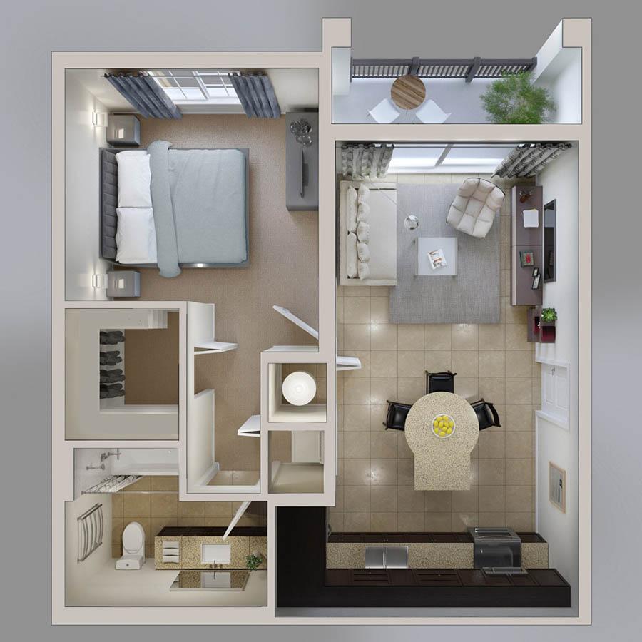 รวมแปลนบ้านชั้นเดียวหนึ่งห้องนอน