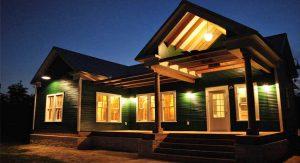 ผนังบ้านสีเขียว