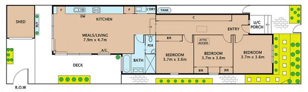 แปลนบ้านชั้นเดียว 3 ห้องนอน