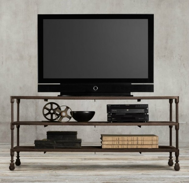 Industrial-media-console-from-Restoration-Hardware