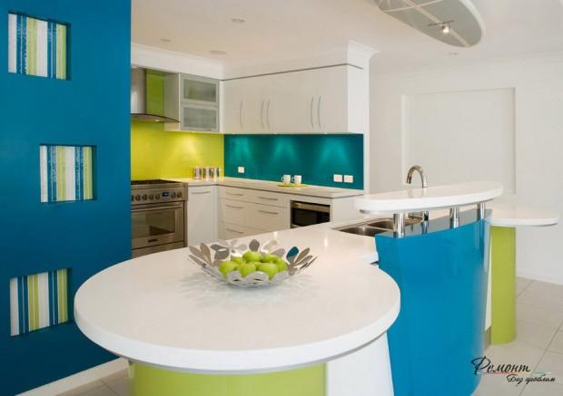 ห้องครัวสีน้ำเงินเขียว