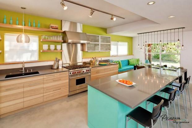 ห้องครัวสีเขียวฟ้า