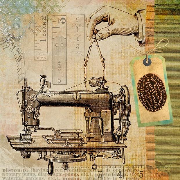 ภาพจักรเย็บผ้า vintage