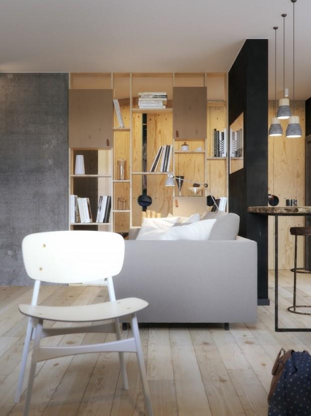 คอนโดสไตล์ modern loft -นั่งเล่น