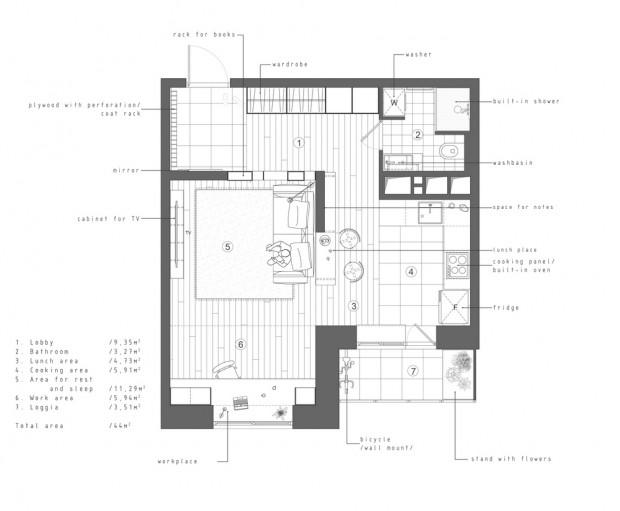 คอนโดสไตล์ modern loft-แปลนห้อง