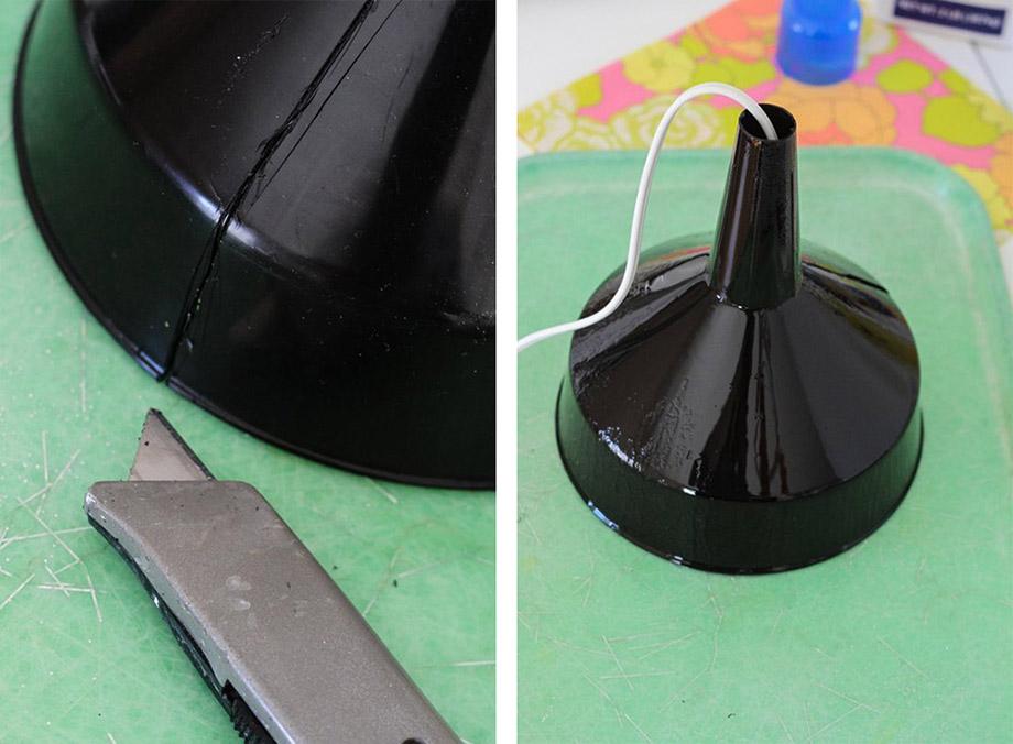 เตรียมกรวยตัดปลายกว้างเพื่อใส่สายไฟ