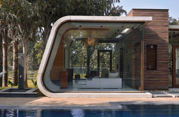 curved-pool house บ้านผนังโค้ง