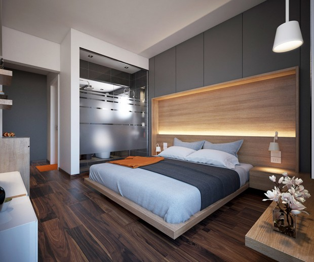 Contemporary Master Bedroom With Shaw Carpet: ไอเดียแต่งคอนโด ห้องสีเทา ไม่เหงา แต่อบอุ่น