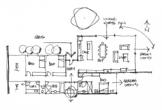 แปลนบ้านแสดงพื้นที่ส่วนต่าง ๆ ในบ้าน