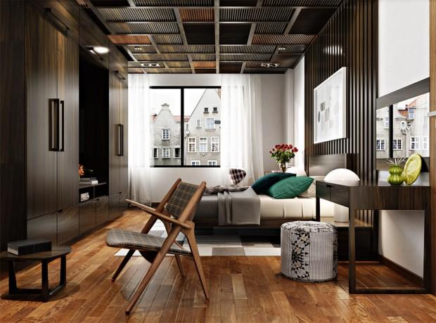 ตกแต่งเพดานและพื้นห้องนอนด้วยไม้สีเข้ม