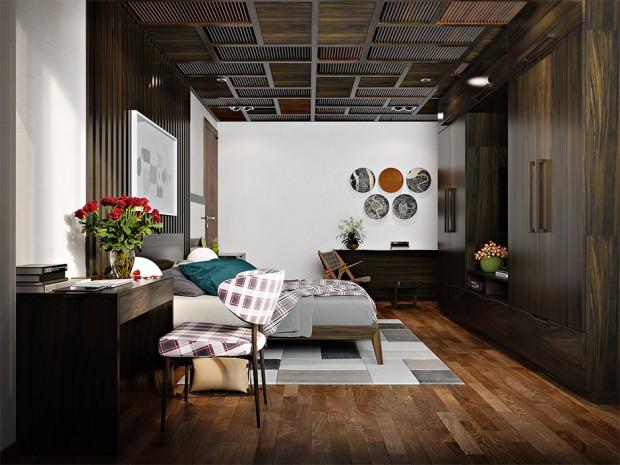 เพดานสร้างความโดดเด่นด้วยไม้ระแนงตีช่องตารางสีเข้ม