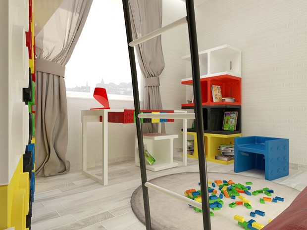 ทุกมุมของห้องมีเลโก้ทั้งเล็กและใหญ่