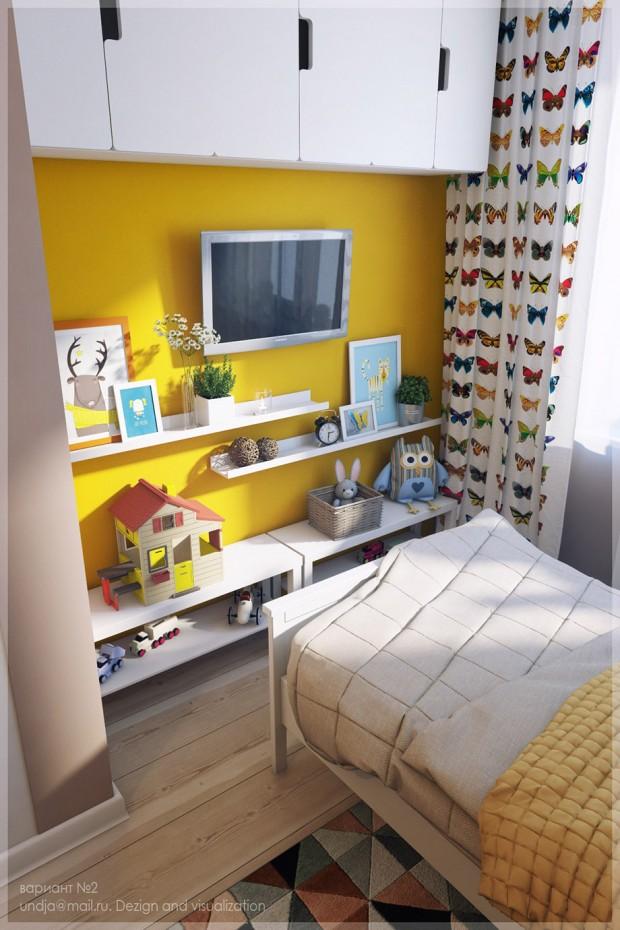 ผนังห้องนอนสีเหลืองให้ความรู้สึกสดชื่นแจ่มใส