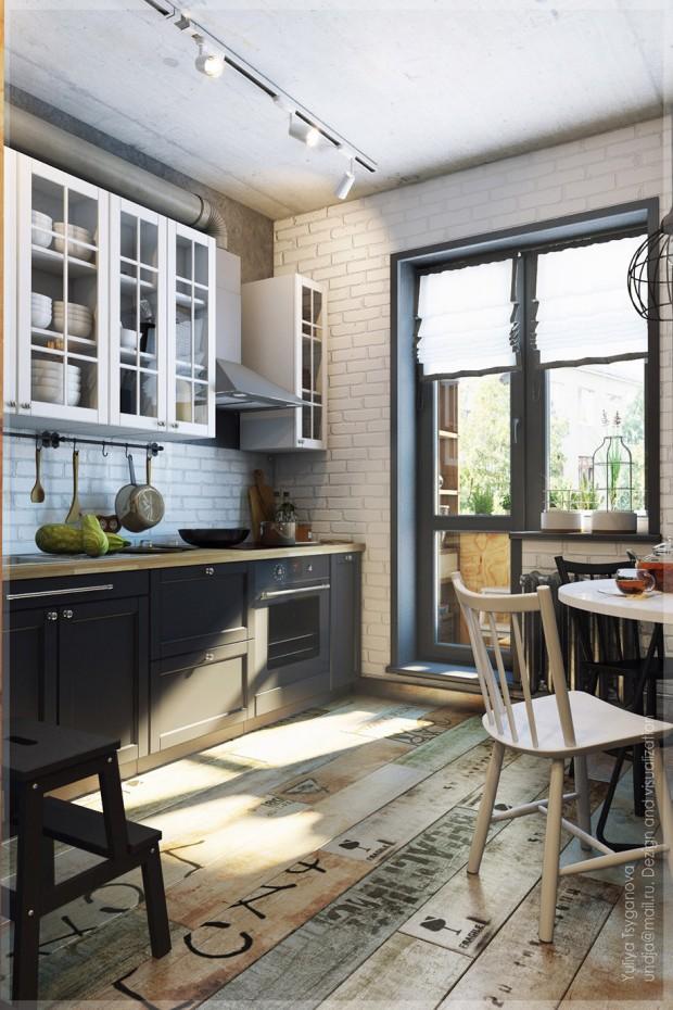 ห้องครัวโทนสีขาว-ดำ