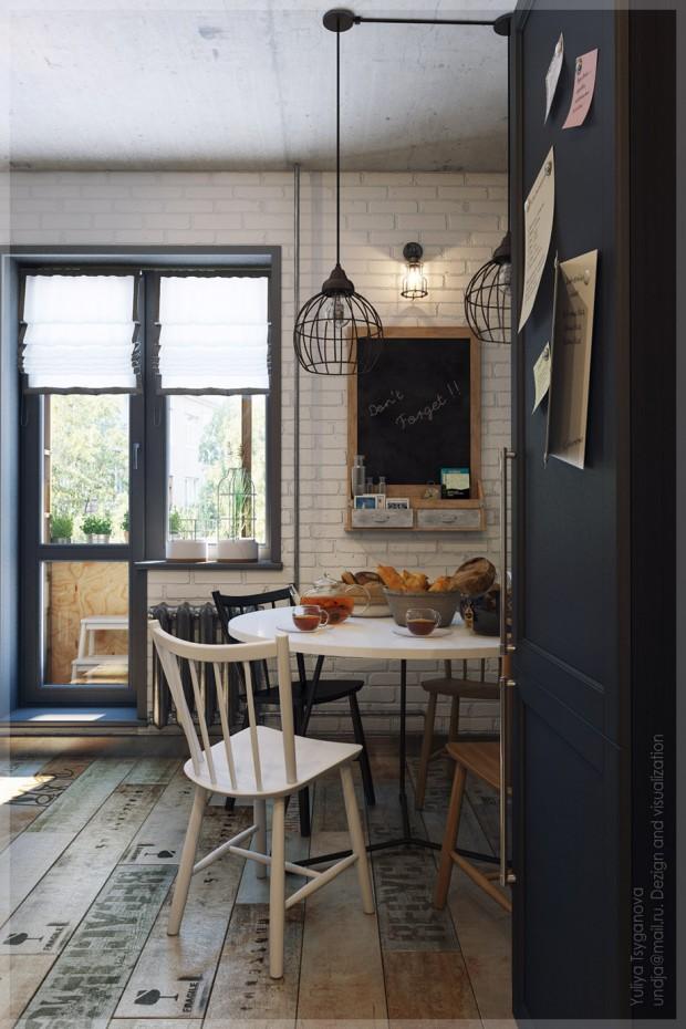 ห้องครัวสไตล์ Modern loft