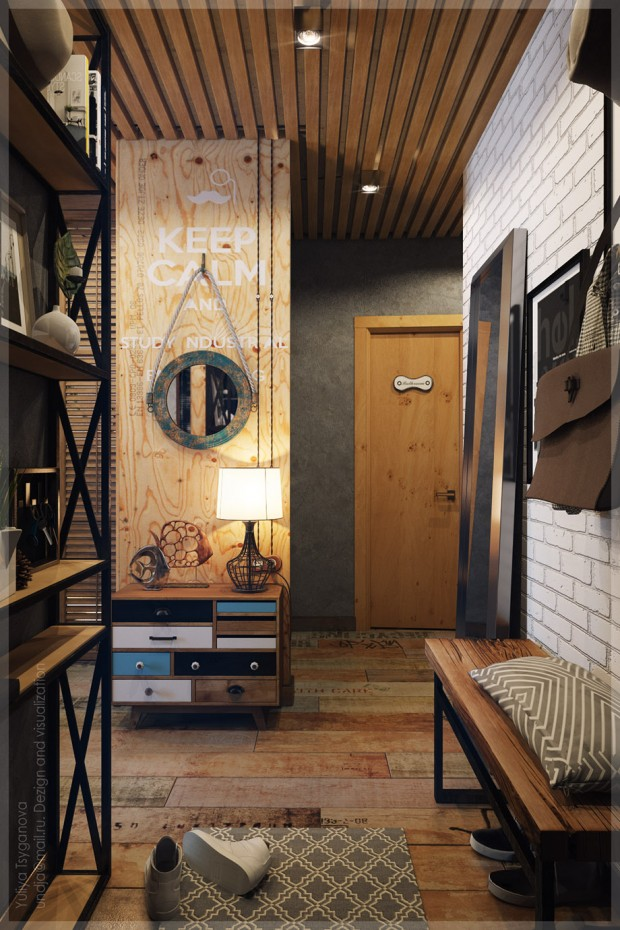 ตกแต่งครัว Modern loft ด้วยไม้และปูนเปลือย