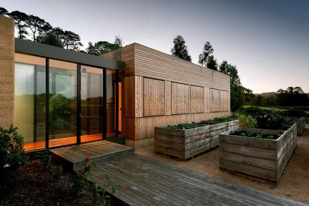 บ้านโมเดิร์นทรงกล่อง Facade ไม้