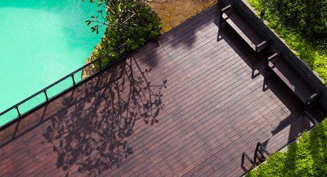 พื้นไม้ ริมสระว่ายน้ำ ใช้ไม้เฌอร่า