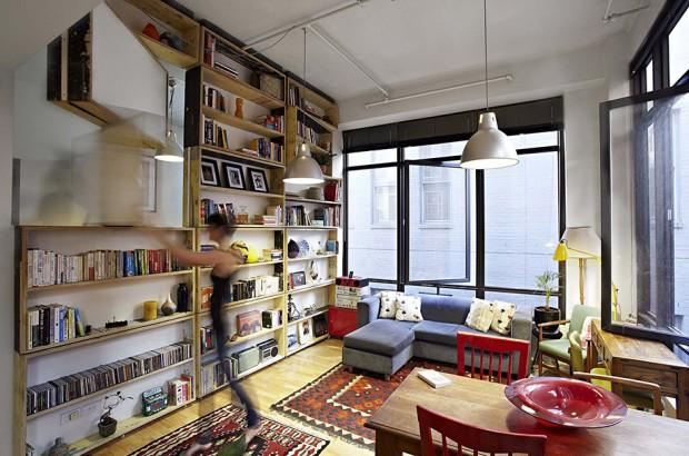 ตู้หนังสือติดตั้งบนผนังแบบหมุนได้
