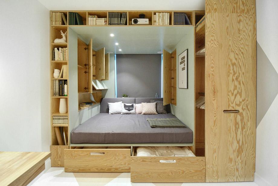 บิวท์อินเตียงและตู้