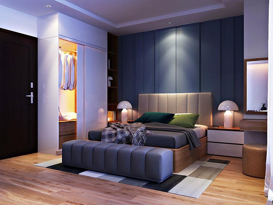 ห้องนอนโทนสีน้ำเงินเทา