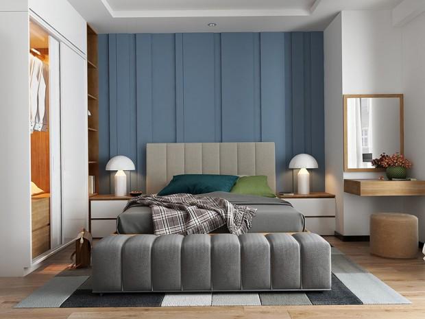 ห้องนอนโทนสีน้ำเงินหม่น-เทา