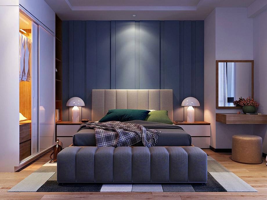 ห้องนอนสุดคลาสสิคด้วยสีน้ำเงินอมเทา