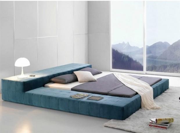 เตียงแบบมินิมอลสีน้ำเงิน