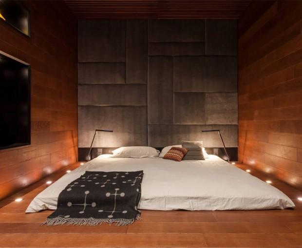 เตียงติดพื้นในห้องบรรยากาศธรรมชาติ