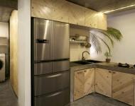 ตู้ครัวกรุไม้สีธรรมชาติ