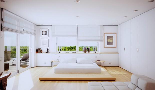 เตียงติดพื้นสีขาว